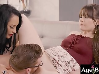A big warm load on Alison Rey and Rita Daniels'_ pretty face