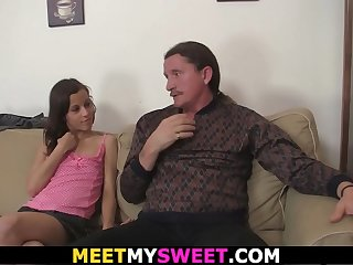 Petite girl seduces his old dad