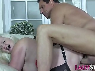 Titfucking granny banged in diner