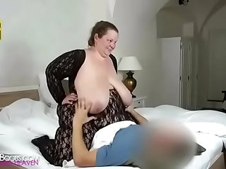 Huge boobs Gran plays with her boobs