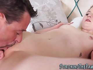 Stepdaughter gets pussy licked and fingered
