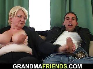 Boozed big tits blonde granny