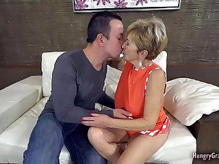 Busty blonde granny fucked by a stud