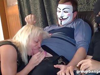Dirty Granny Steps Into Gangbang Mine Field