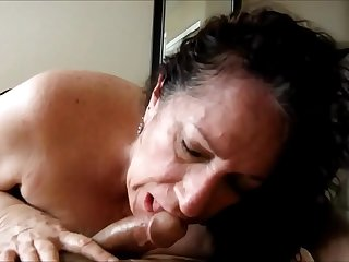 Sensual Latina Granny Sucking Dick and Drink Cum