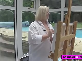 grandma decides to fuck her painting model