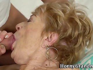 Wrinkly grandma gets banged and spermed
