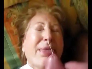 Granny takes a facial