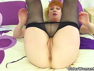UK redhead milf Velvetina toys her hairy and wet fanny