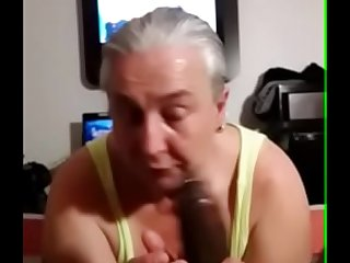 Blonde Granny Michelle Swallows Huge Cock and Loving It