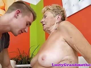 Hairy european grandma dicksucking and riding