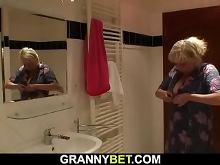 Busty blonde granny