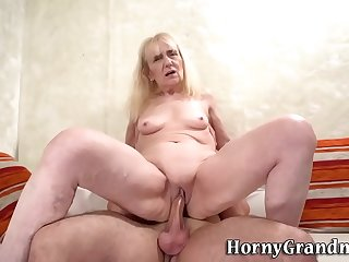 Blonde grandmother rides dick and gobbles