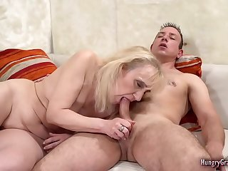 Dickhungry granny enjoying studs wang