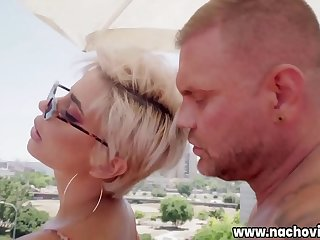 With her short blond hair the thick and voluptuous Colombian temptress drives Nacho Vidal crazy. She gives a tremendous blowjob to the cock.