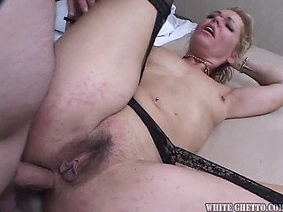 Nasty blodne aged honey in nylons acquires screwed and creampied