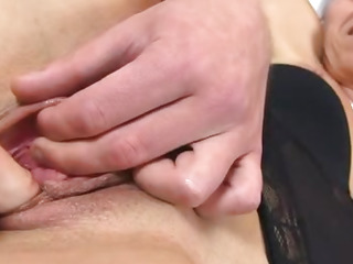 Young boy spreading and fingering pussy of hot cougar Beate