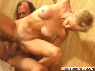 Hairy slim mature woman fucked hard