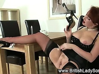 Mature stockings redhead gets dirty