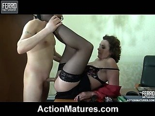 Mature ladyboss having a hardcore session