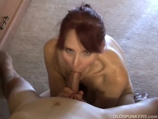 Skinny mature amateur sucks cock like a pro