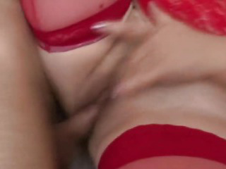 Slutty milf in red lingerie getting plowed
