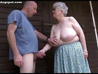 Busty grey grandma sucks and wanks