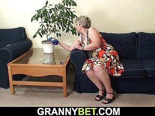 Lonely 60 years old grandma rides his big cock