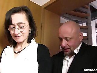 Skinny German granny double penetrated hardcore