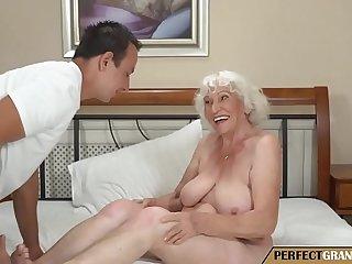 the grandma has a big tits