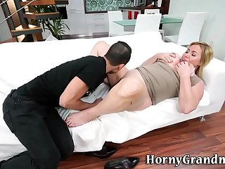 Doggystyled granny gets big tits jizzed